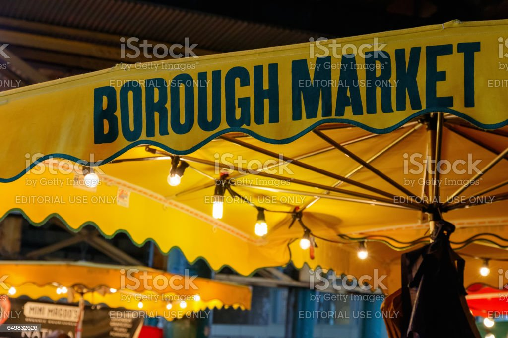 Sign of borough Market stock photo