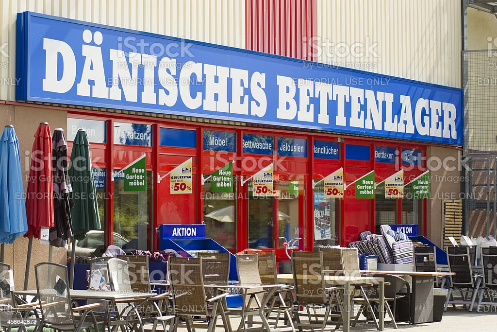 Sign of Daenisches Bettenlager stock photo