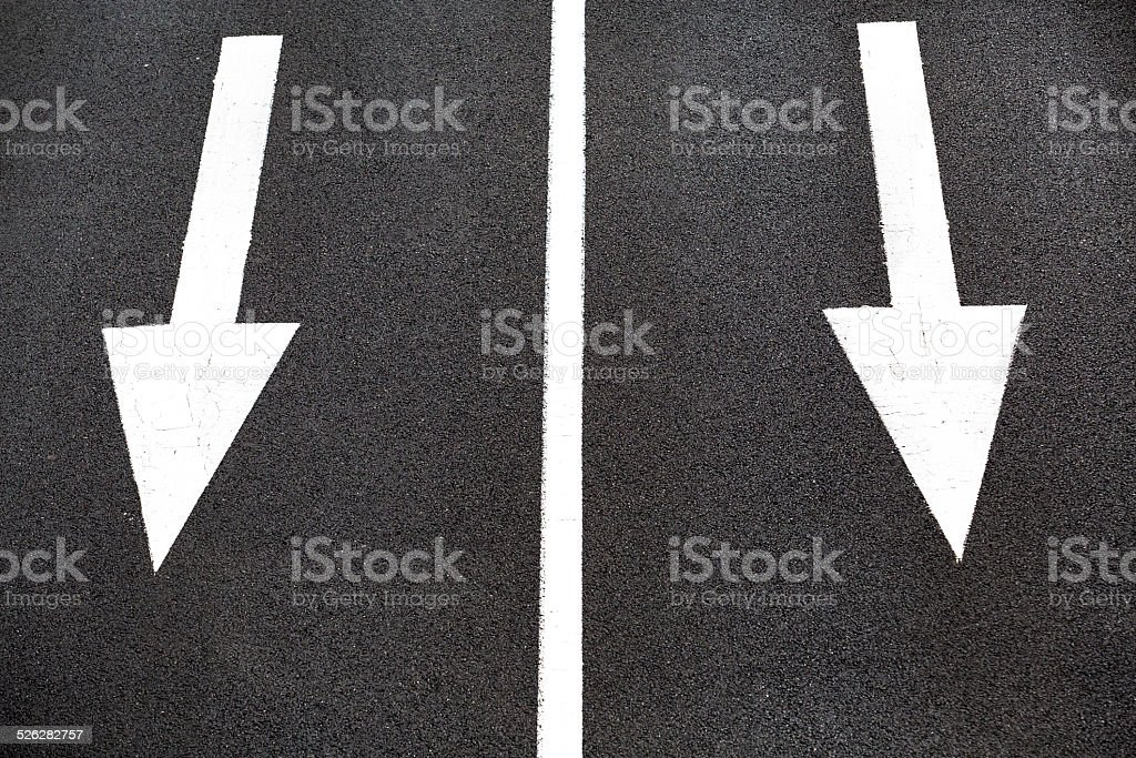 sign of going straight on traffic lane stock photo