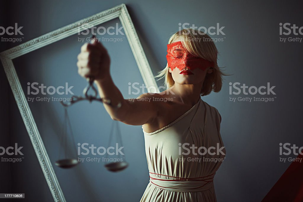 Sign of justice with scales stock photo