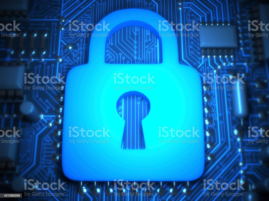 Sign of lock on motherboard stock photo