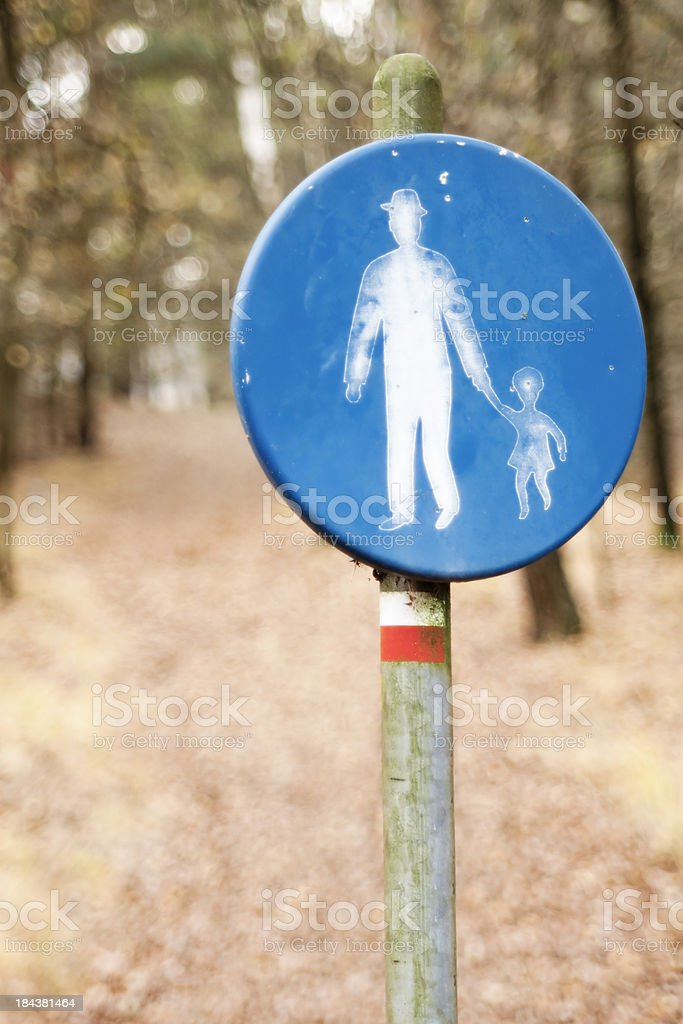 Sign of man with child stock photo