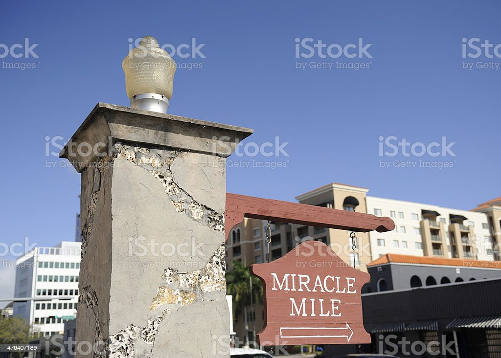 Sign of Miracle Mile in Coral Gables stock photo