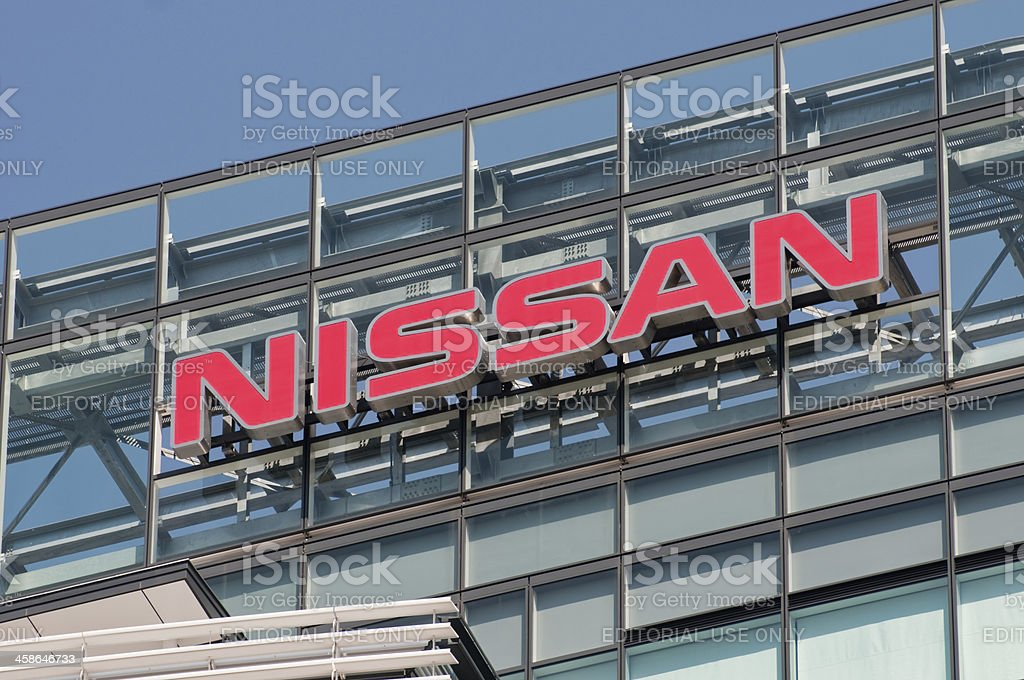 Sign of Nissan stock photo
