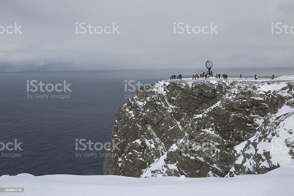 Sign of North Cape in winter against dramatic sky royalty-free stock photo