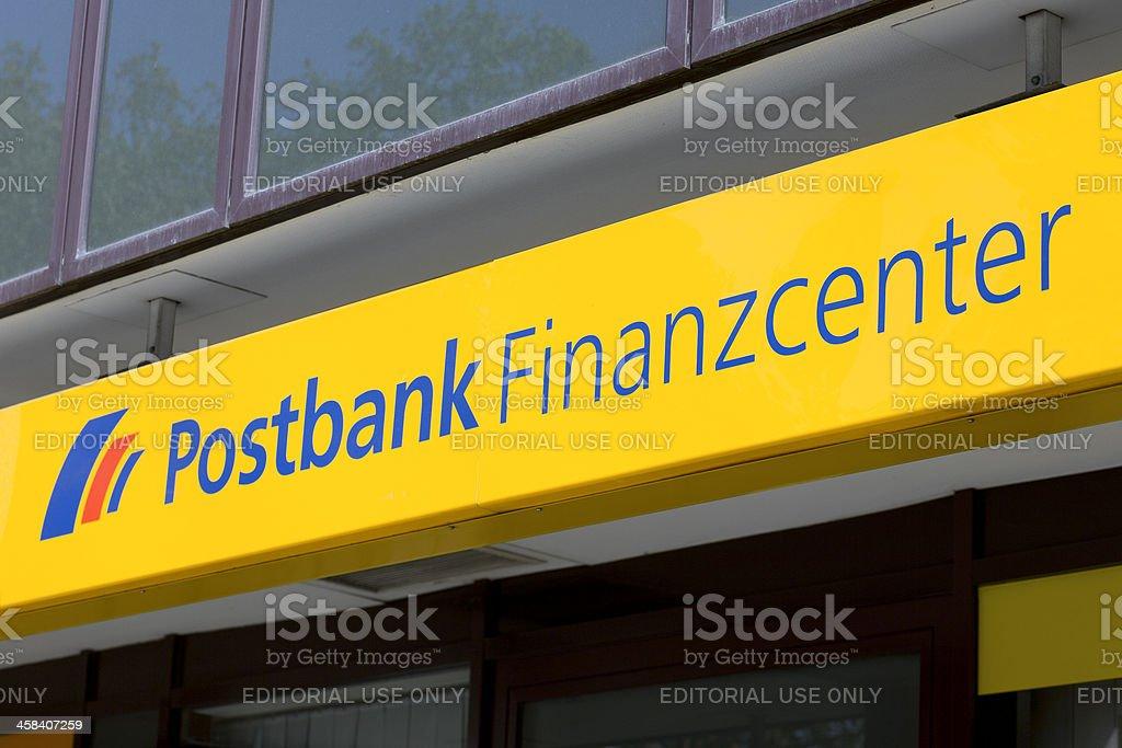 Sign of Postbank Finanzcenter stock photo