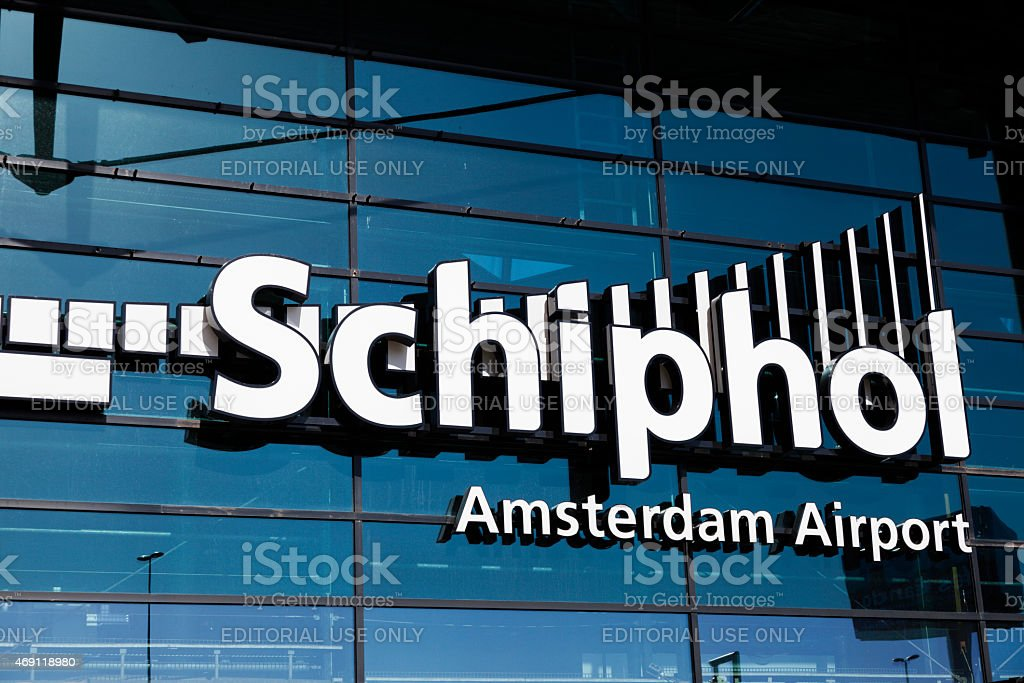 Sign of Schiphol Airport, Amsterdam, The Netherlands stock photo