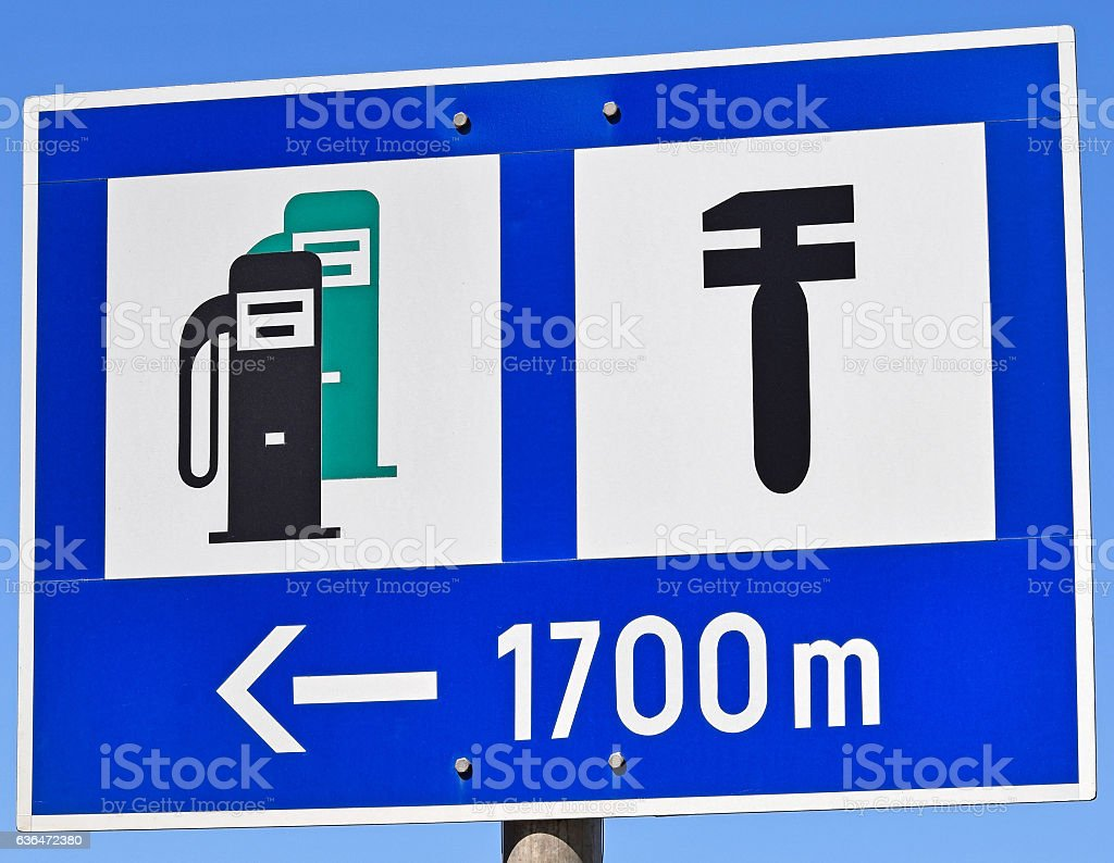 Sign of the gas and service station stock photo