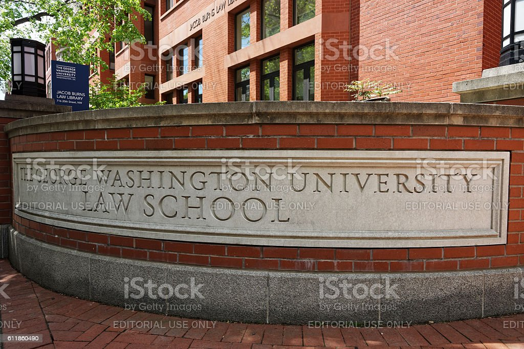 Sign of The George Washington Univertsity Law School stock photo