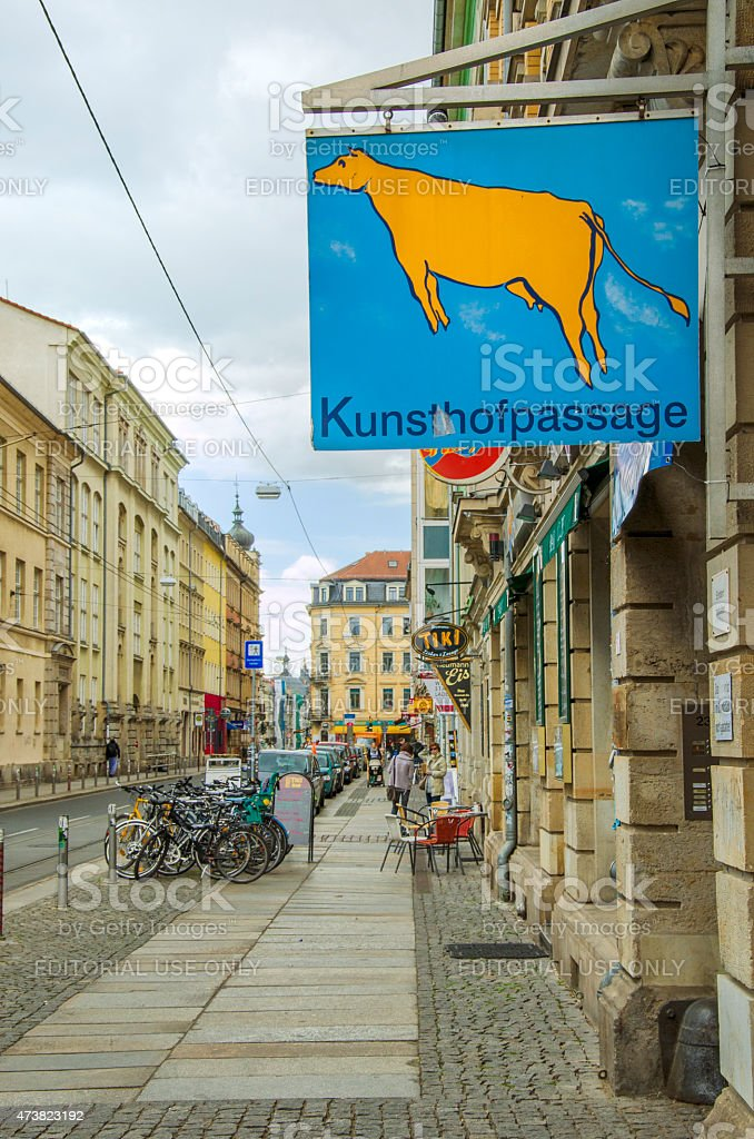 Sign of the Kunsthofpassage Dresden - flying cow stock photo