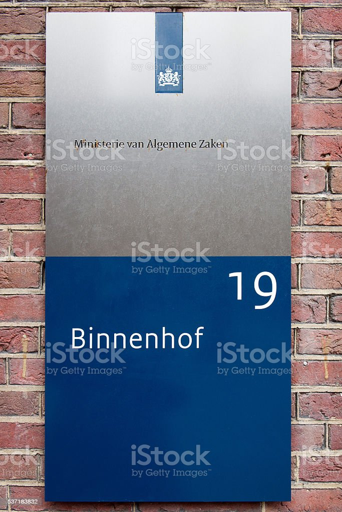 Sign of the Ministery of General affairs stock photo