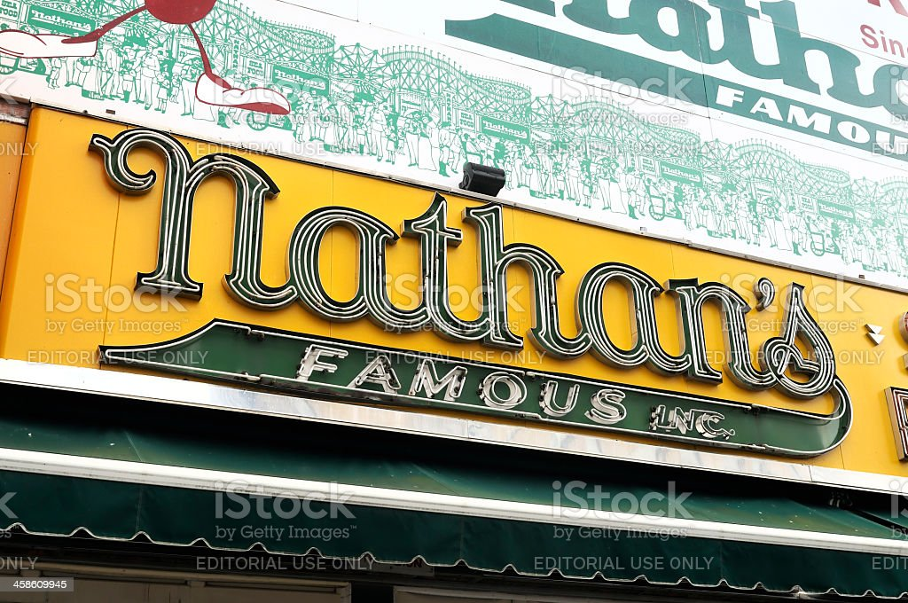 Sign of the Original Nathan's Famous Frankfurters stock photo