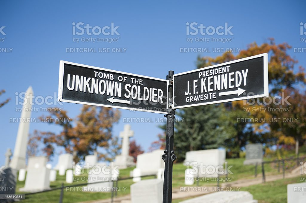 sign of the unkown soldier and president Kennedy at Arlington royalty-free stock photo