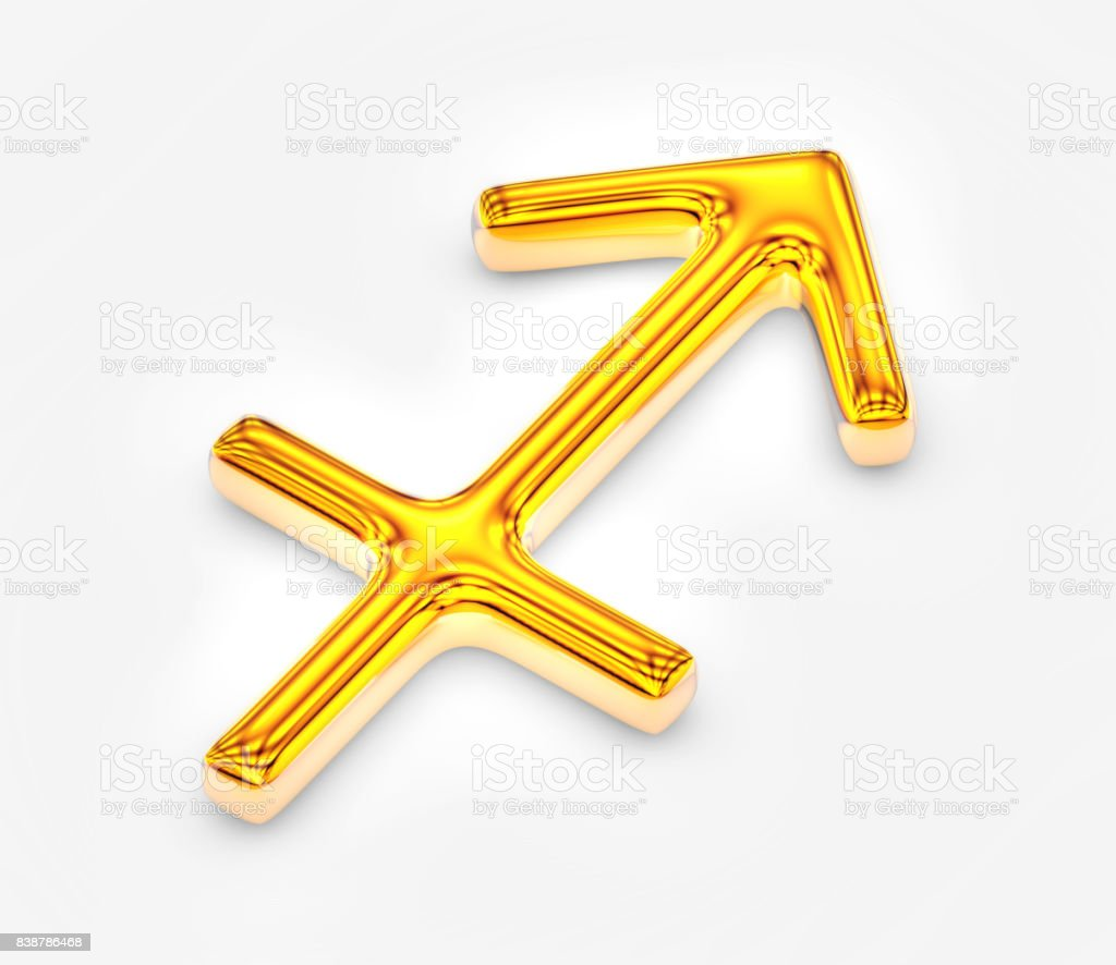 Sign of the zodiac in gold on white background - Sagittarius stock photo