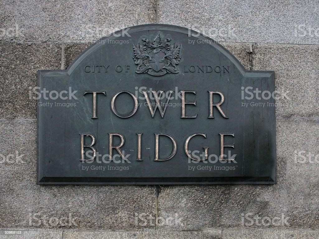 Sign of Tower Bridge, London, UK royalty-free stock photo