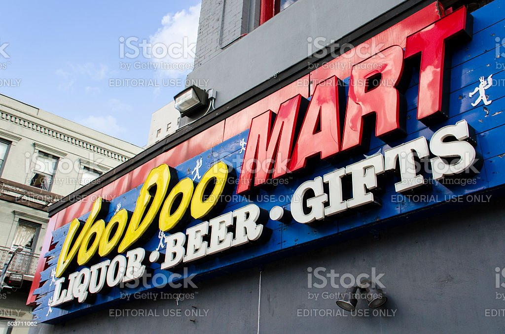 Sign of VooDoo Mart in New Orleans, Louisiana. stock photo
