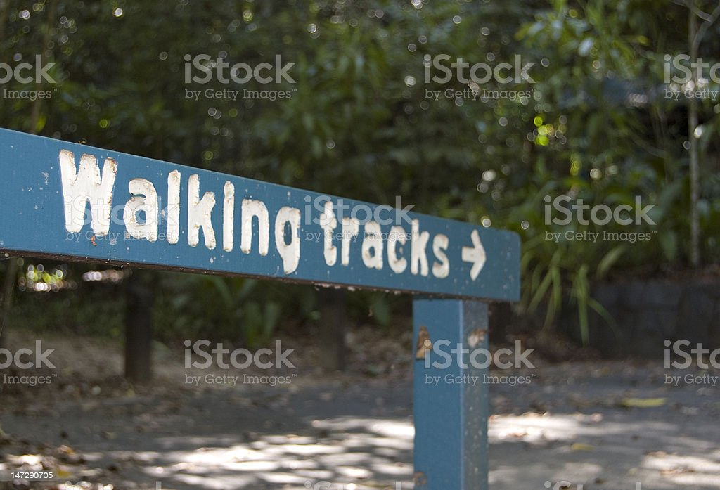 Sign of walking track, Daintree NP, Australia royalty-free stock photo