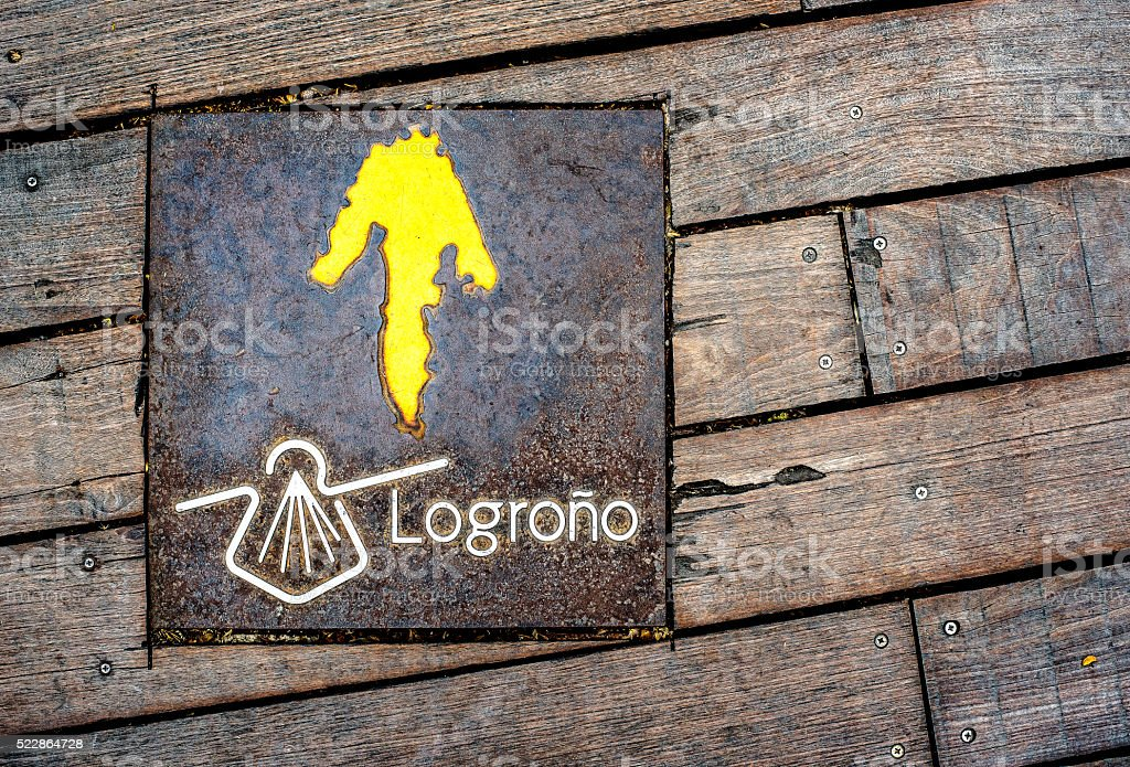 Sign of Way of St James on a wooden floor. stock photo
