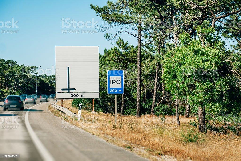 IPO sign on a busy highway stock photo