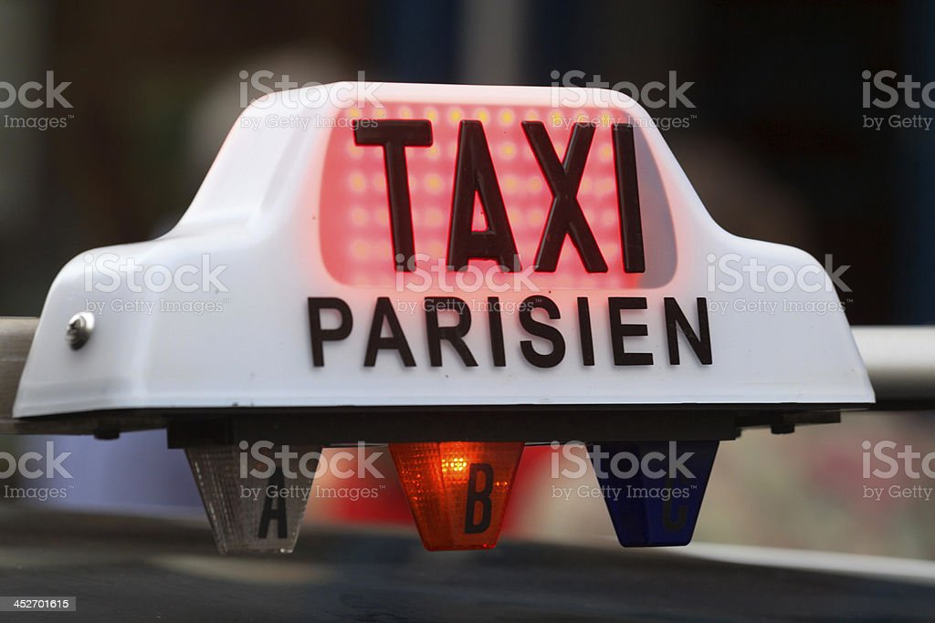 sign on a cab in Paris stock photo