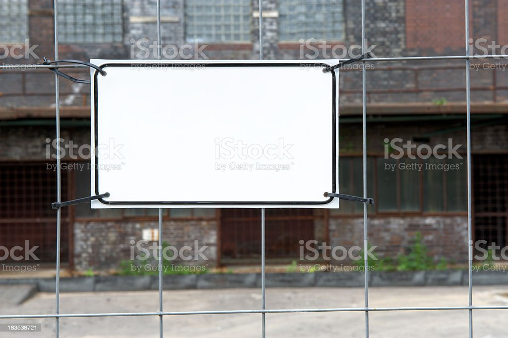 Sign on a fence with copyspace stock photo