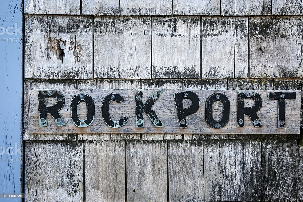 Sign on a lobster shack in Rockport, MA stock photo