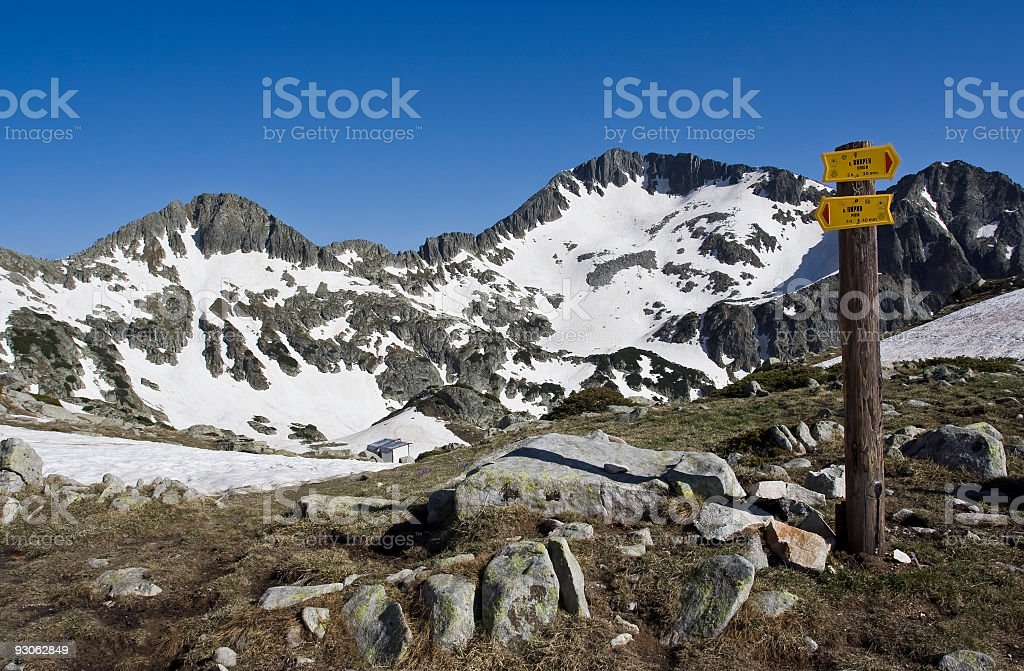 sign on a mountain royalty-free stock photo