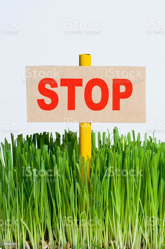 STOP sign on a piece of grass stock photo