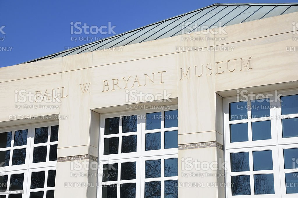 Sign on Paul W. Bryant Museum stock photo