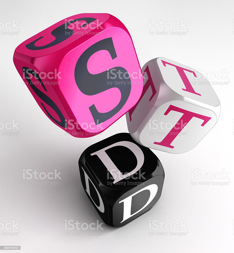 STD (Sexually transmitted diseases) sign on pink, white and blac stock photo