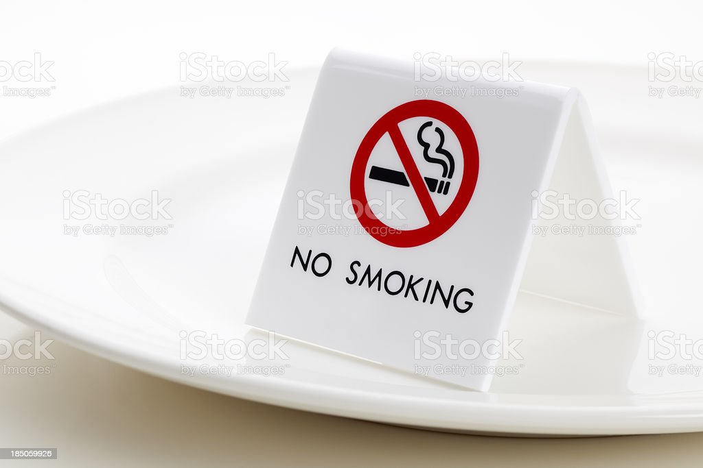 NO SMOKING sign on Plate stock photo