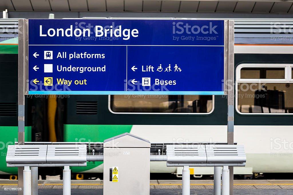 Sign on platform at London Bridge station, London, UK stock photo