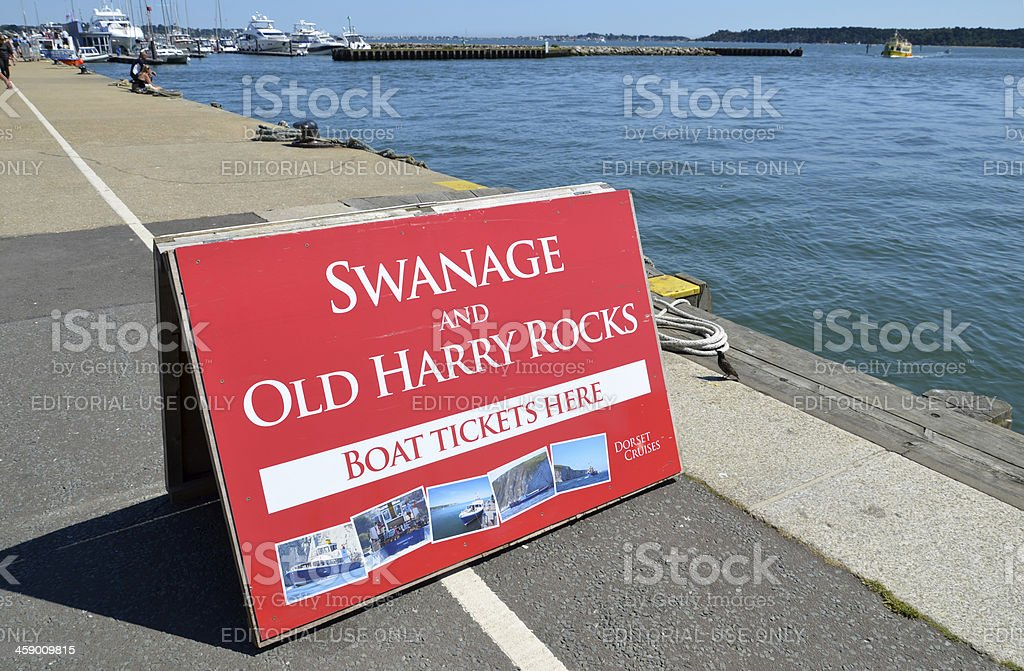Sign on Poole Quay stock photo