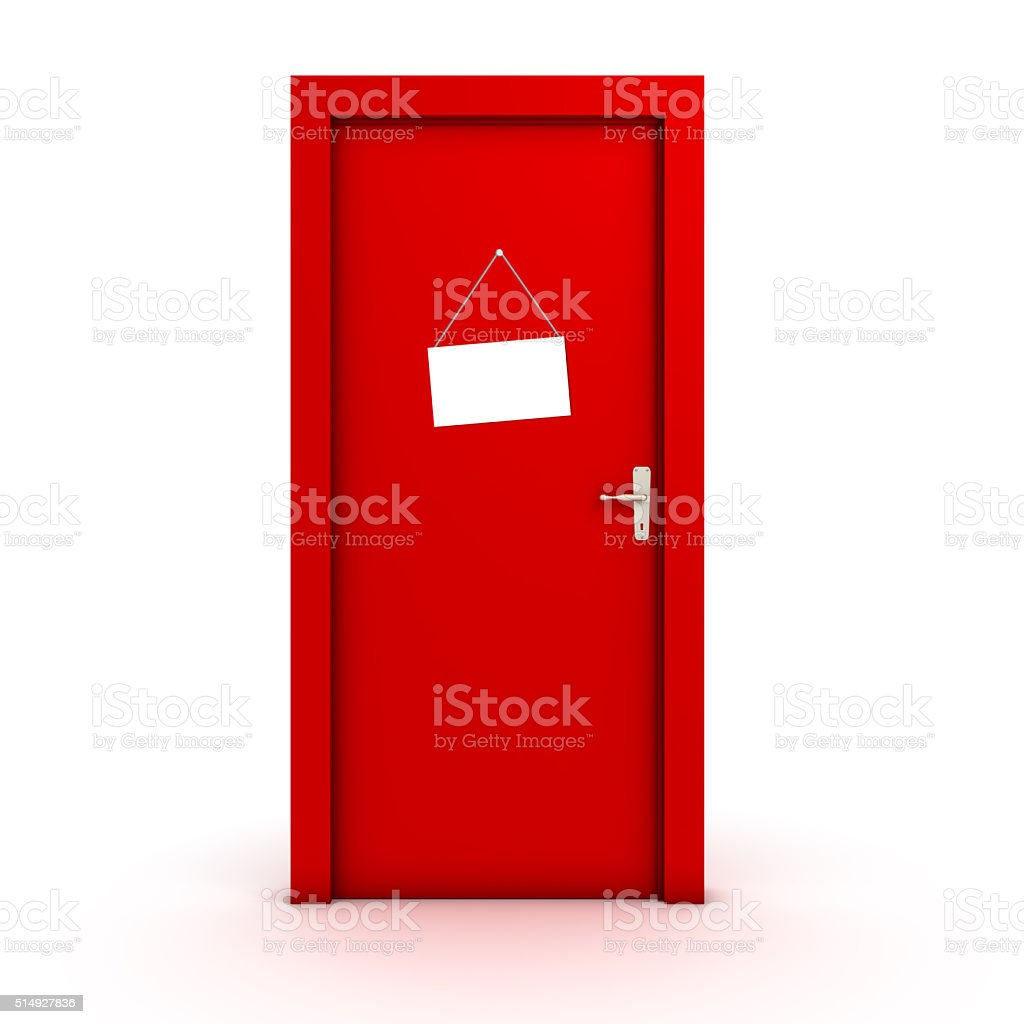 Sign on the door stock photo