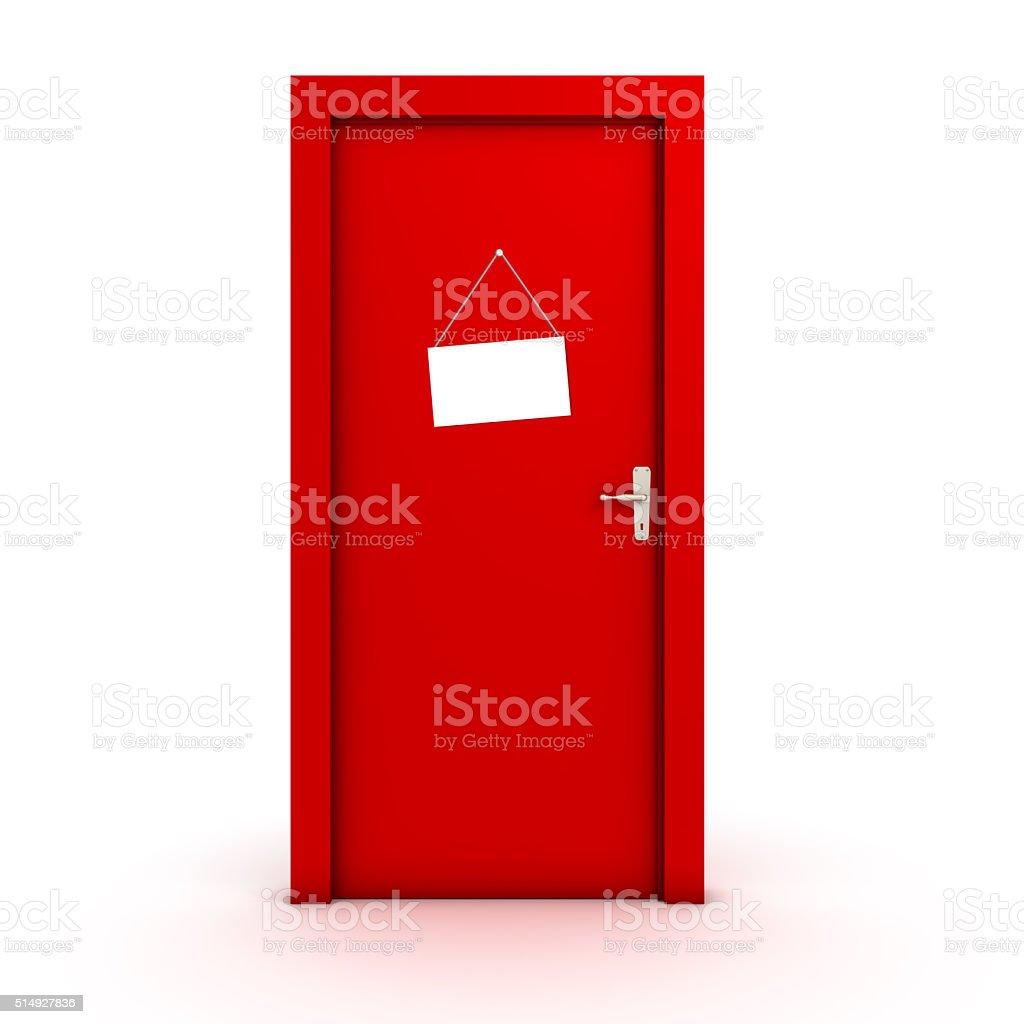 Sign on the door stock photo