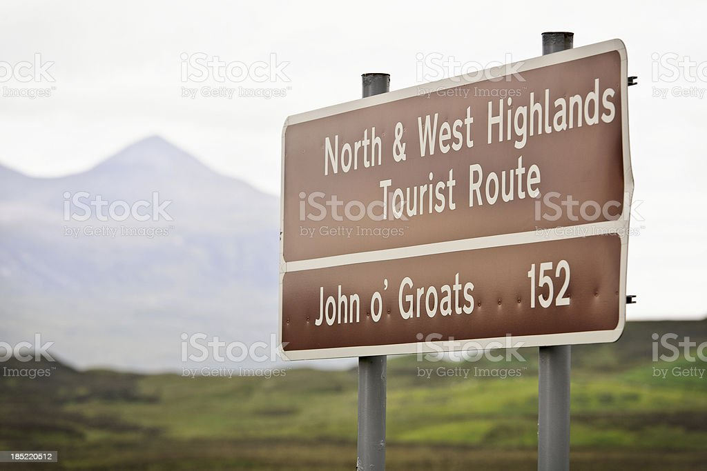 Sign on the road to John o' Groats royalty-free stock photo