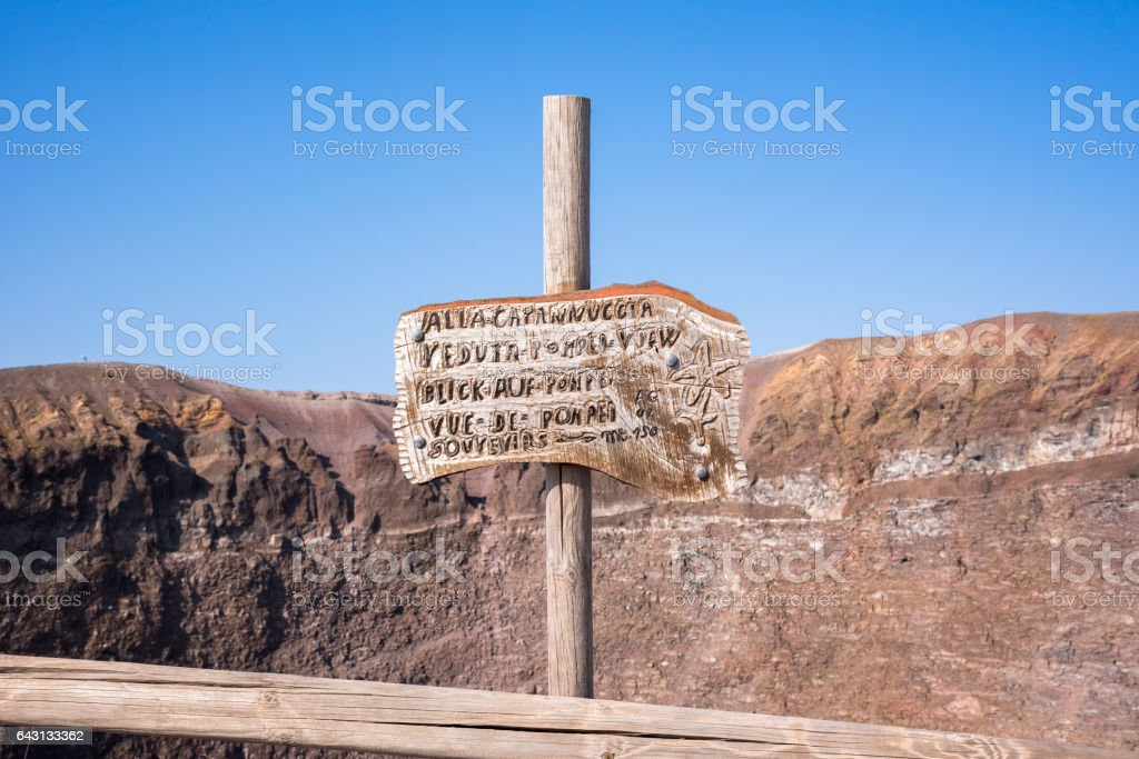 Sign on the top of Mount Vesuvius stock photo