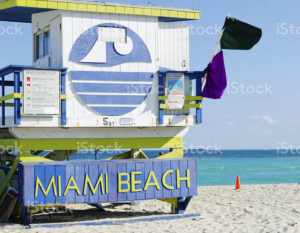 Sign on watch tower in famous Miami Beach in Florida, USA stock photo