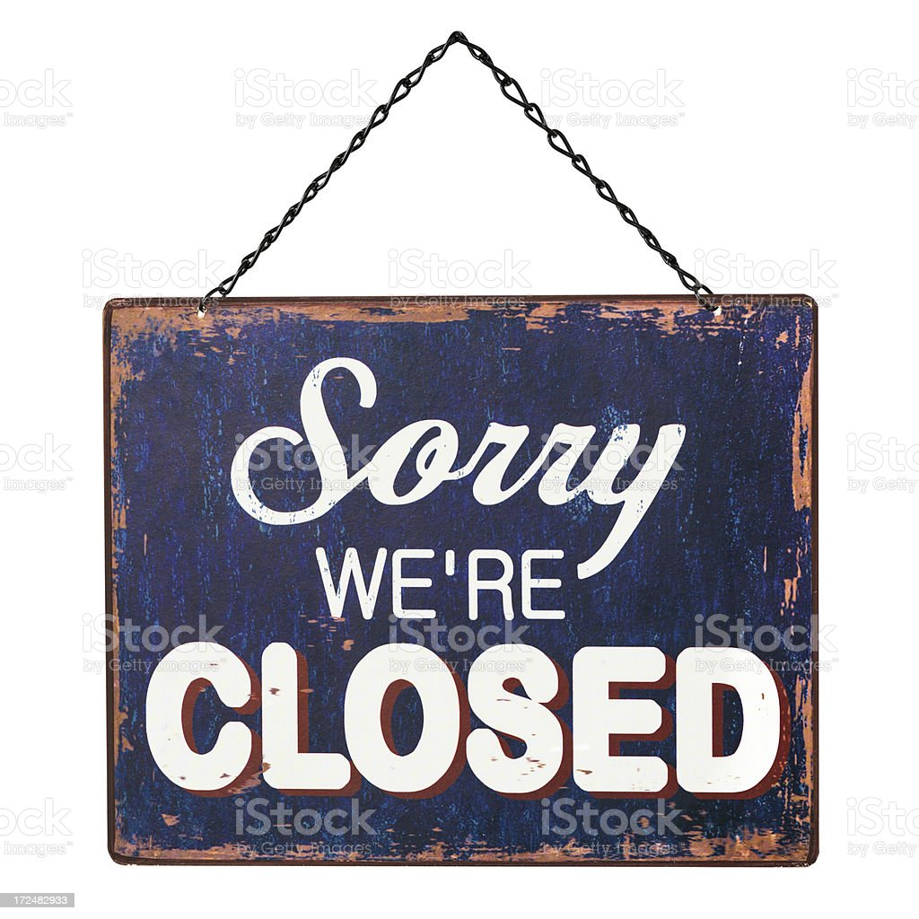 CLOSED Sign on White (CLIPPING PATH) stock photo