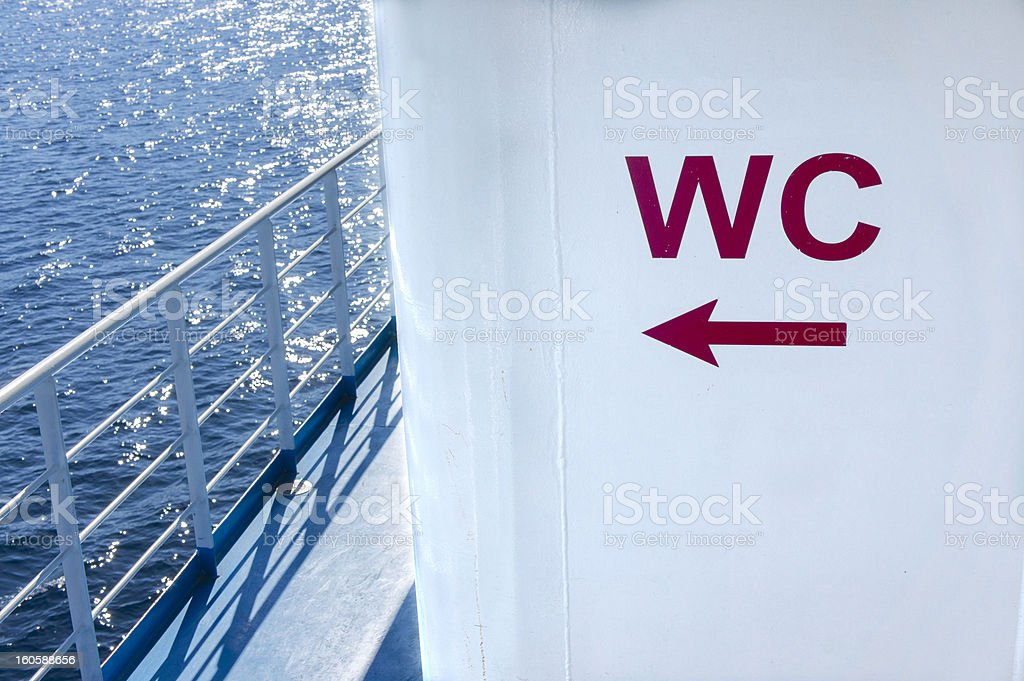 WC sign onboard a ship royalty-free stock photo