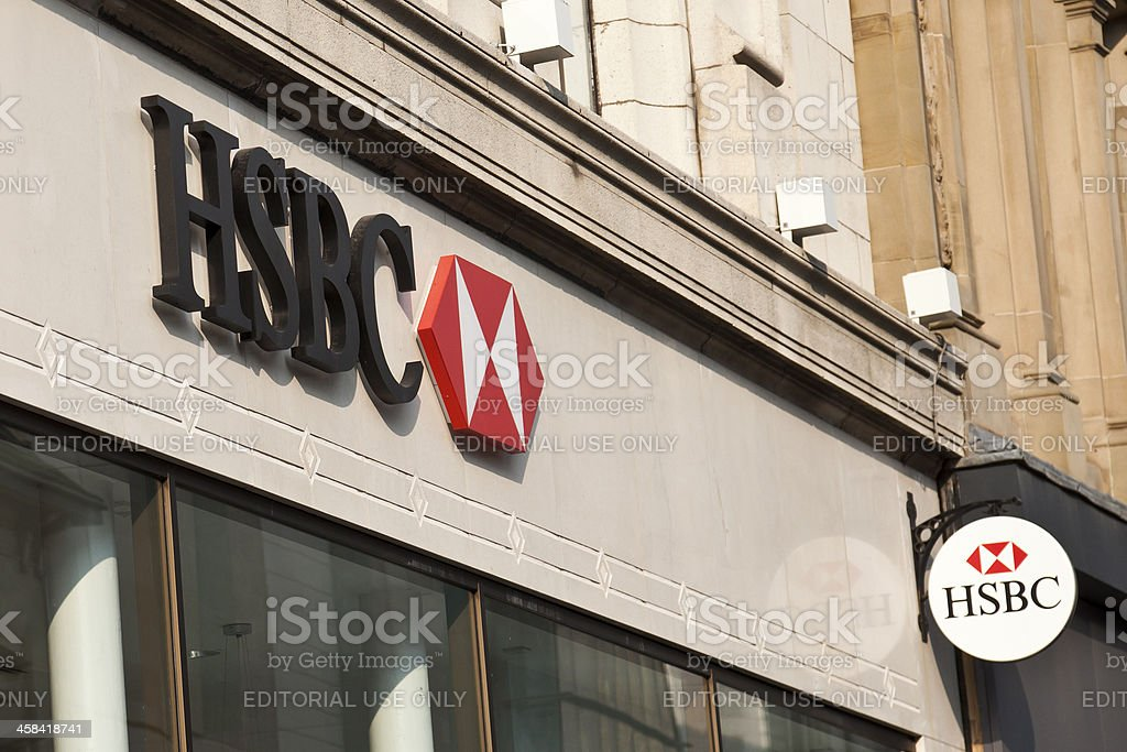 HSBC sign outside a central Glasgow branch stock photo
