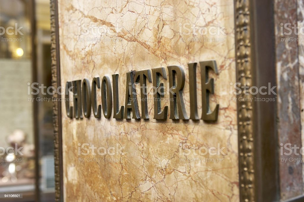 Sign Outside Chocolaterie In Brussels stock photo