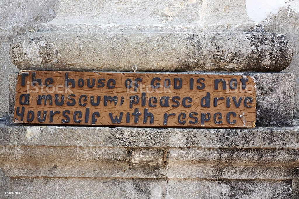Sign Outside Church, House of God royalty-free stock photo