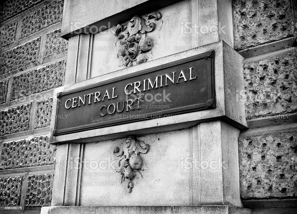 Sign outside the Central Criminal Court (Old Bailey), London stock photo