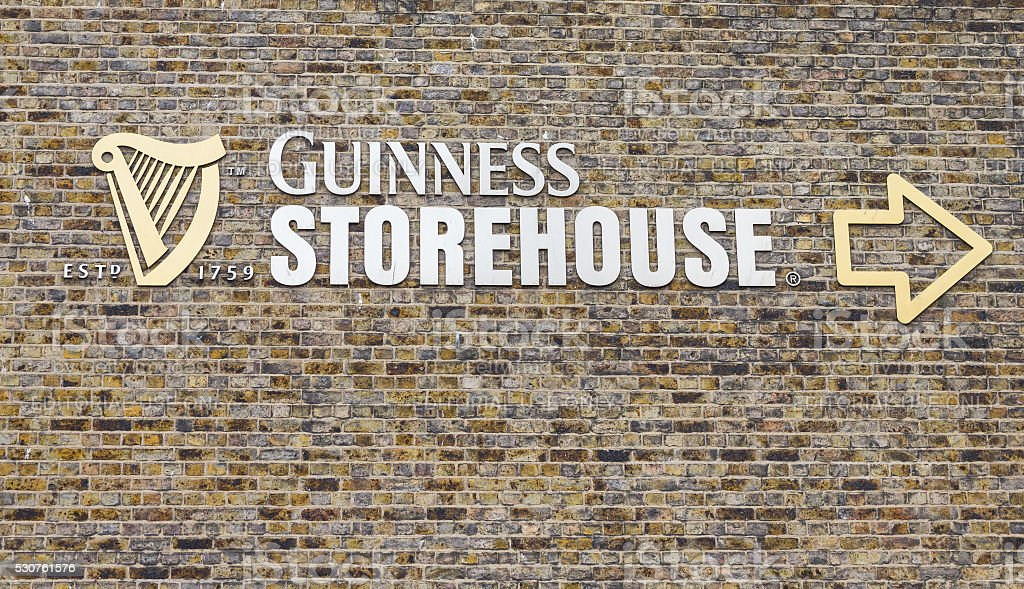 Sign outside the Guinness Storehouse, Dublin, Ireland stock photo