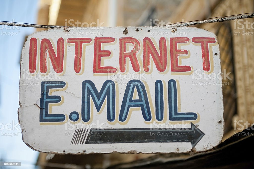 Sign painted with the words Internet and email stock photo