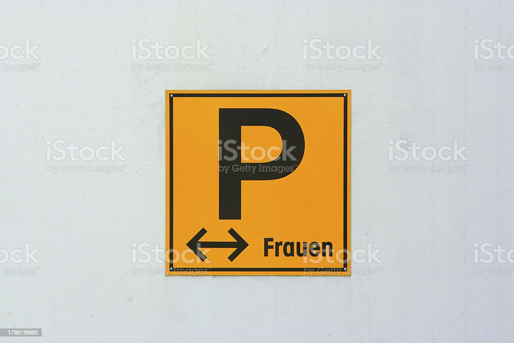 Sign 'Parking for Woman' stock photo