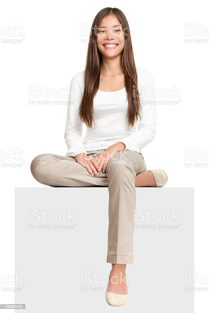 Sign people - woman sitting on signs stock photo