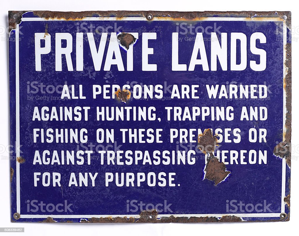 PRIVATE LANDS - NO HUNTING Sign stock photo