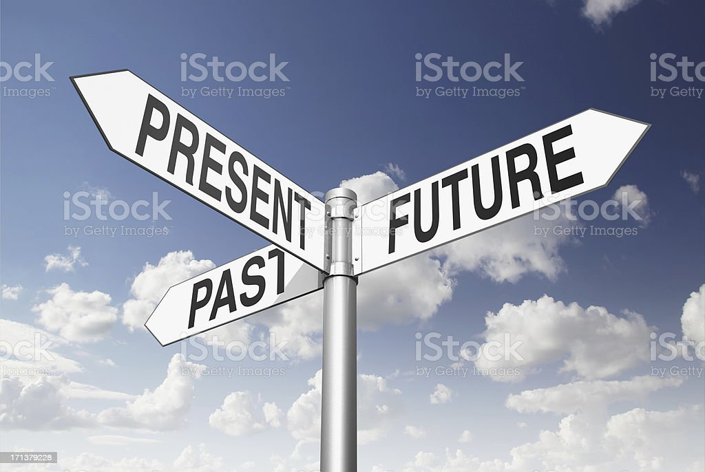 Sign pole representing the past, present and future stock photo